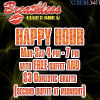 Happy Hour at Breathless NJ 4 pm-7 pm with FREE Buffets