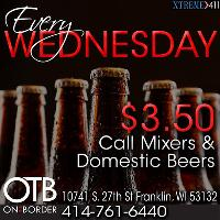 Wednesday $3.50 Drink Specials only at OTB in Franklin WI