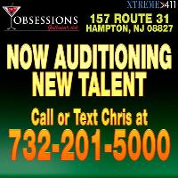 Now Auditioning Entertainers at Obsessions Gentlemens Club New Jersey