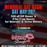 Memorial Day Party at Odyssey Showgirls MI-FREE passes for ALL!