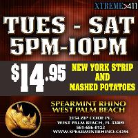 Steak and Potato special at Spearmint Rhino FL Tues-Sat