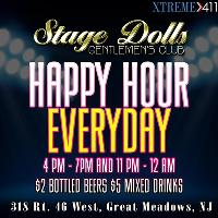 Happy Hour EVERYDAY at Stage Dolls, New Jersey